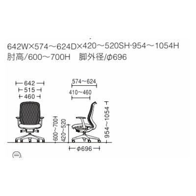 シルフィー(Sylphy)オフィスチェアハイバックメッシュデザインアームアルミ脚ブラックフレームハンガー付きC646BR-FMR3ライトグレー
