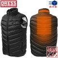 [DRESS(ドレス)]HEATVESTヒートベスト[ブラック]電熱ヒーター内蔵ベスト[サイズ:S/M/L/XL/XXL]USBモバイルバッテリー対応釣り中綿ベスト防寒メンズMen's