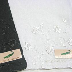ハンカチレディース白黒フォーマルクロコダイルバラ花刺繍レース無地冠婚葬祭結婚式ウエディングドレスブランド婦人メール便