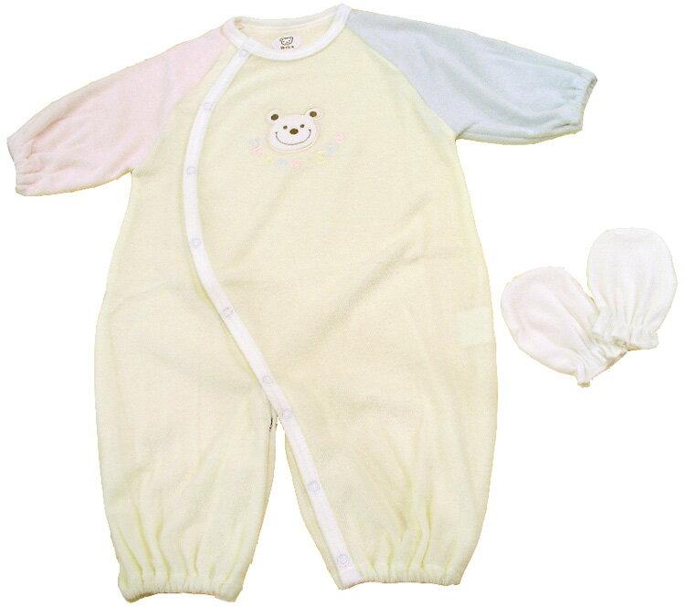 97990eeae76dd 新生児 ベビー服 3配色ツーウェイオール+ミトン ベビーウェア・日本製 05P03Dec1…