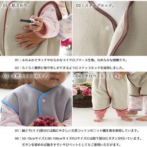 【着る毛布子供マイクロファイバーフリース節電対策寝具リルイベイビーマイクロフリースキッズスリーパー50-70cmクリアグ