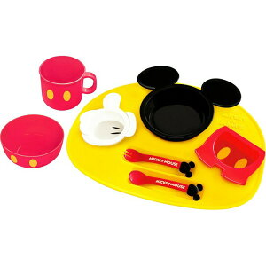 \在庫限り/【ベビー用 食器セット ディズニー】【送料無料】アイコン ベビー食器セット ミッキーマウス・ミニーマウス【D】【P】【食事 ベビー食器】