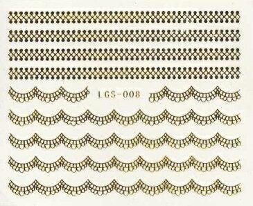 【メール便OK】ネイルシール386 ネイルタトゥー レース ゴールド08 ウォーターネイルシール水に塗らして貼るだけの極薄フィルム★ジェルネイル埋め込み簡単