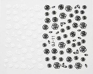 ネイルシール カメリア ブラック ホワイト