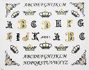 【メール便OK】ネイルシール721 王冠 クラウン イニシャル アルファベット ゴシックブラックゴールド