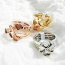 ステンレスリング59四つ葉ハートリボン3連デザインリング指輪シルバーゴールドピンクゴールドステンレス素材手作りアクセサリーリング土台【グルーデコアクセサリーの土台】【メール便OK】