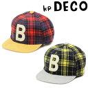【週末キラキラセール 10%OFF】KP ニットプランナー 50cm/52cm/54cm KP DECO(ケーピーデコ) チェック柄とBワッペン付キャップ 男の子 帽子