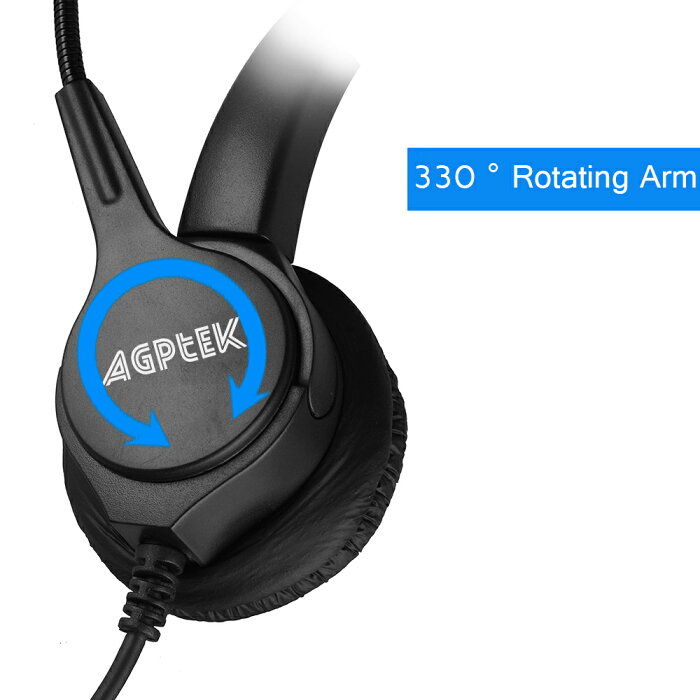 AGPtek®USBヘッドセットハンズフリー高音質片耳式USBエントリータイプPCオーバーヘッドセット