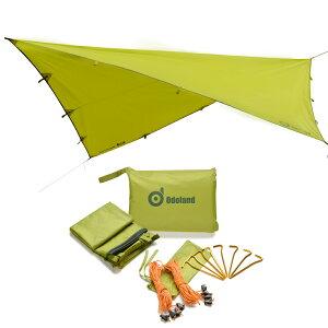 3M*3M ODOLAND 高品質タープシェルター タカショー クールシェード テント天幕 日焼け予防 防水 軽くてコンパクト 収納バック付け(グリン)