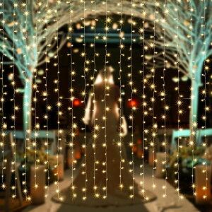 AGPtek®3MX3M/300LEDクリスマスパーティー、結婚式などイベント大活躍防水国際基準防水IP44カーテンライトLEDイルミネーションライト8種類の点滅パターン複数連結可能コントローラ付き(日本語取扱書付き)