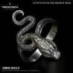 【予約商品】【TORCHTORCH】ダークソウル×TORCHTORCH/リングコレクション:貪欲な銀の蛇の指輪メンズM/19号