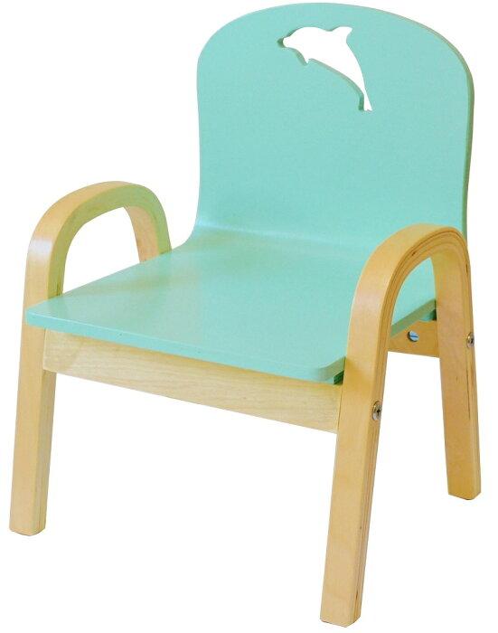 ワケアリ。MAMENCHI 木製キッズチェア 組立済 イルカ ブルースタッキングチェア 木製イス 幼児イス 子ども用椅子 子ども用イス 木製イス 子供椅子 ローチェア ベビーチェア