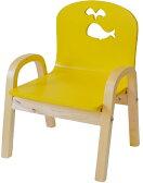 MAMENCHI 木製キッズチェア 組立済 クジラ イエロースタッキングチェア 木製イス 幼児イス 子ども用椅子 子ども用イス 木製イス 子供椅子 ローチェア ベビーチェア