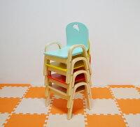 MAMENCHI木製キッズチェア組立済イルカレッド