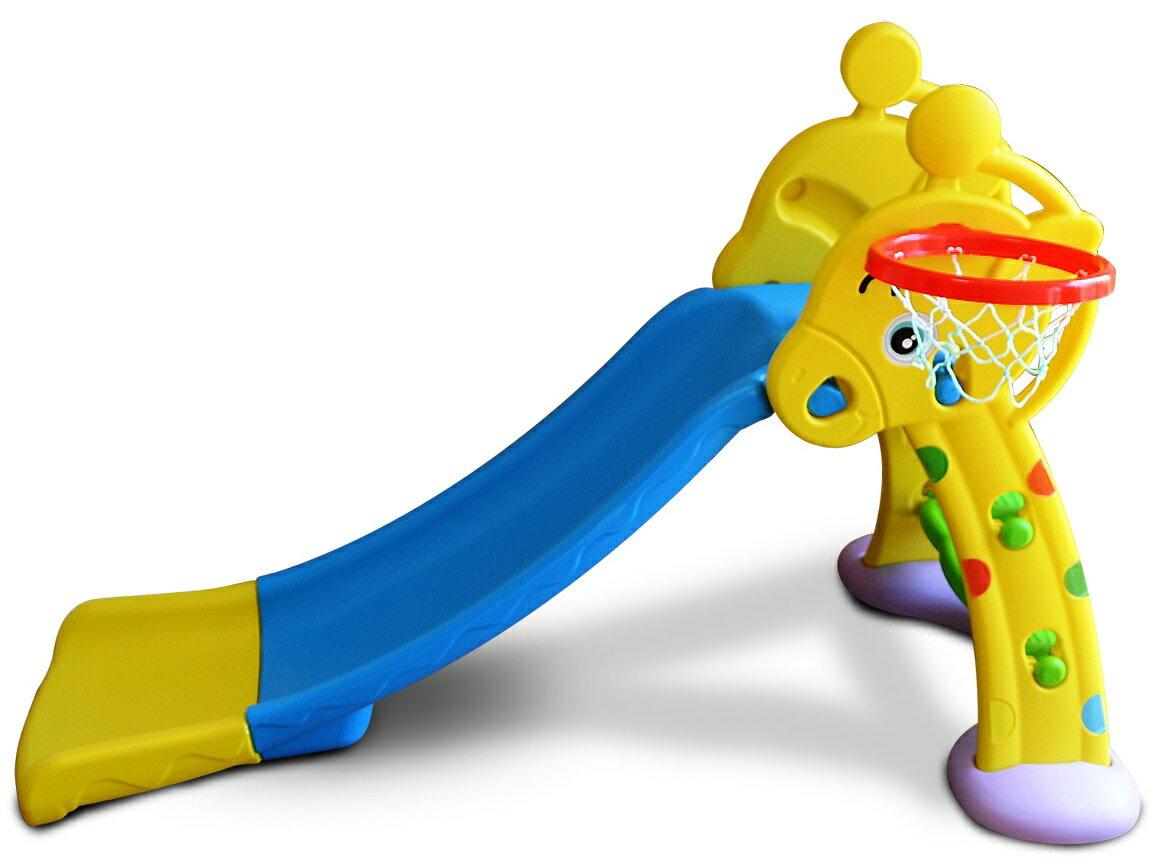 MAMENCHIバスケットゴール・安定補強板付滑り台(安定性抜群!)拡張ロングタイプキリンブルーイエローすべり台折りたたみすべり台子供用滑り台すべりだい室内遊具キッズスライダースライダー折りたたみ式すべり台スベリ台