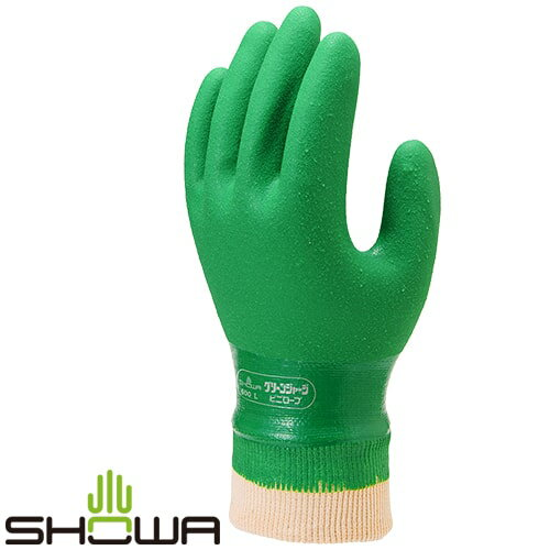 塩ビ手袋SHOWAショーワグローブグリーンジャージビニローブ[10双入]No.600ビニール手袋裏布あり