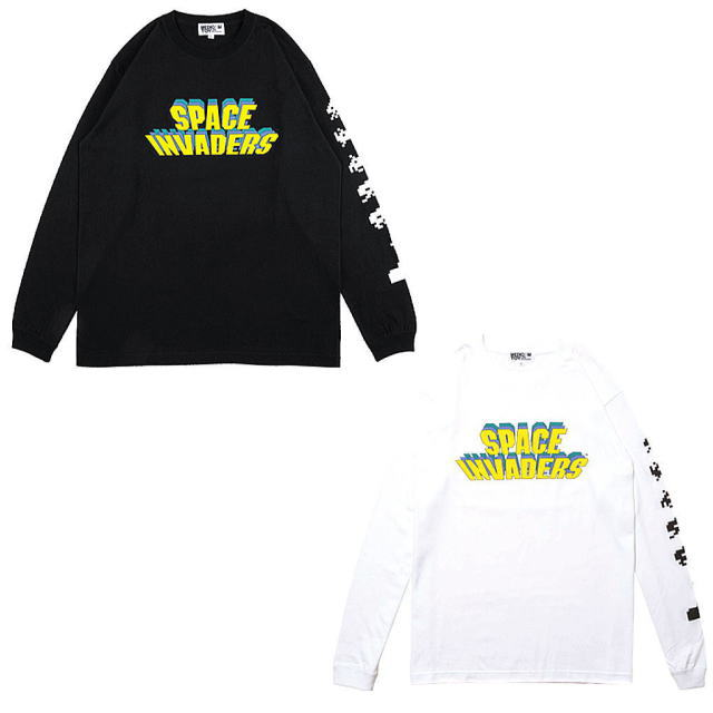 トップス, Tシャツ・カットソー !!SALE!! FABRICK SPACE INVADERS LONG SLEEVE TEE BLACK,WHITE TMLE019-INVADERS-0022 AIS MEDICOM TOY
