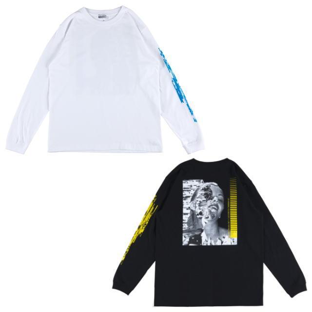 トップス, Tシャツ・カットソー Sync. KOSUKE KAWAMURA LONG SLEEVE TEE HALF WHITE,BLACK T AIA MEDICOM TOY