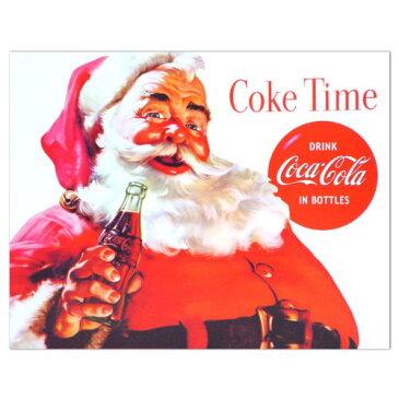 【Coketime】コカコーラ ブリキ看板 サンタクロース(アメリカ製)【インテリア 壁掛け】