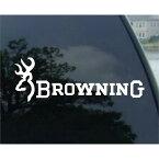 """""""BROWNING(ブローニング)"""" ロゴ&文字ステッカー ホワイト 【カーステッカー デカール シール】"""