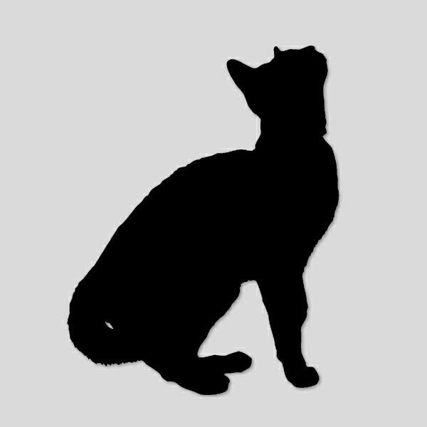 【ステッカー シール】 見上げる ねこ シルエット デカール 約13cm×9cm ブラック【猫 ビニール サイン ダイカット cat】画像