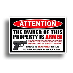 【ステッカー シール】ATTENTION ミリタリー デカール 約7cm×10.5cm【ピストル 銃 高品質 カーステッカー 警告】