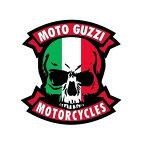 【ステッカー シール】MOTO GUZZI モト・グッツィ イタリアカラー スカル デカール 約8.5cm×8.5cm【バイク モータースポーツ MOTORCYCLE 骸骨 高品質 雑貨 サイン カーステッカー】