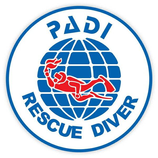 【ステッカー シール】PADI RESCUE DIVER パディ レスキュー ダイバー デカール 直径約10cm【スキューバダイビング マリンスポーツ 雑貨 サイン カーステッカー】画像