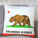カリフォルニア 共和国 国旗 クッション 約45cm×45cm 【CA...