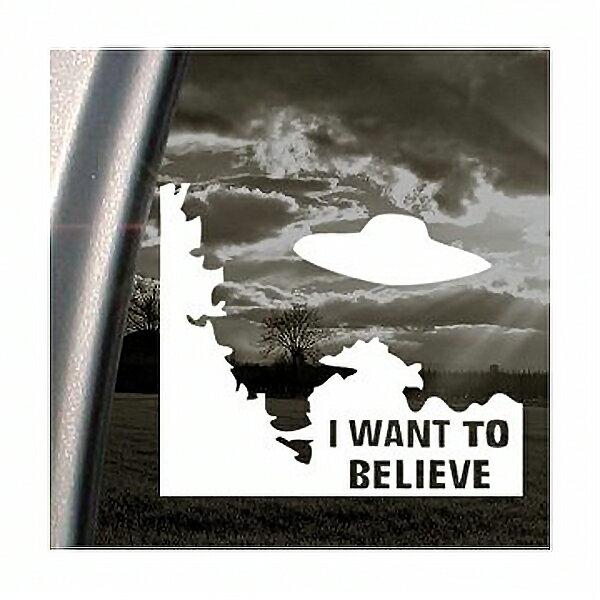【ステッカー シール】 I WANT TO BELIEVE X-ファイル UFO デカール 約13cm×15cm【アメリカ 雑貨 小物 サイン カーステッカー】画像