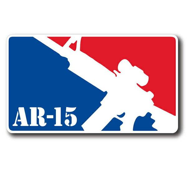 AR-15 ライフル メジャーリーグ・ロゴ風 デカール 約8.5cm×約15.5cm ■ シール ステッカー ミリタリー 銃器 ガン画像