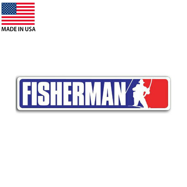 FISHERMAN 釣り師 メジャーリーグ風デザイン デカール 約5cm×約23cm アメリカ製 ■ シール ステッカー 釣り フィッシング画像