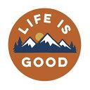 ステッカー LIFE IS GOOD 人生は素晴らしい 円形 太陽と山脈 ...