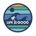 ステッカー LIFE IS GOOD 人生は素晴らしい 円形 波と太陽 直...