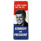 【ブリキ看板】ジョン・F・ケネディ Kennedy For President 看板 27cm×10cm【アメリカ 大統領 インテリア 雑貨 壁掛け ガレージ】