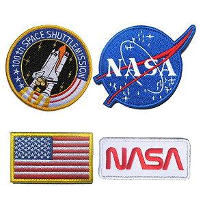 【ワッペン】NASA スペースシャトル 星条旗 パッチ 4種セット 【アメリカ コスプレ 雑貨】