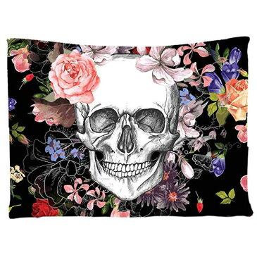 タペストリー 花に囲まれた骸骨 152cm×203cm ■ ハロウィン ハロウィーン インテリア 雑貨 装飾 スケルトン フラワー