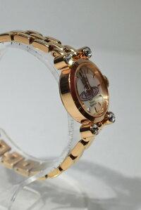 【中古】VivienneWestwoodヴィヴィアンウエストウッドVW77C7-B04ダイアモンドシェルウォッチホワイトピンクゴールドリストウォッチブレスレットウォッチ腕時計