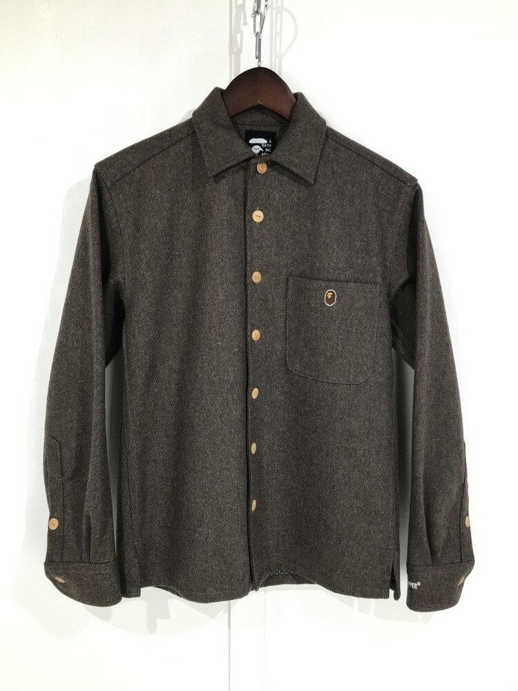 トップス, カジュアルシャツ A BATHING APE GORE WINDSTOPPER WOOL SHIRT XS BROWN Net