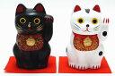 【新商品】【嵐 招き猫】招き猫で日本を元気に!!開運☆手のり招き白猫(大)&黒猫(大)セット【あす楽対応】【楽ギフ_包装選択】【開運ア…