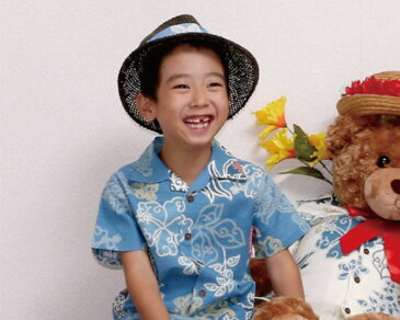 キッズシャツ 和柄ハイビーシーサー 150cm アロハシャツ かりゆしウェア