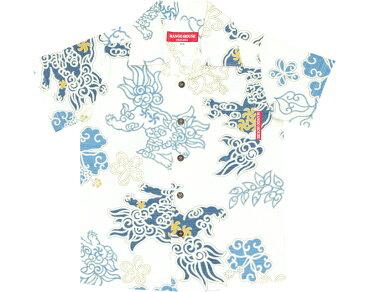 キッズシャツ 和柄ハイビーシーサー 90cm〜110cm アロハシャツ かりゆしウェア