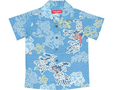 キッズシャツ 和柄ハイビーシーサー 120cm〜140cm アロハシャツ かりゆしウェア