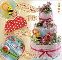 【3段おむつケーキ】ピンクガーデングランデ3段☆ベビーケアセット付 Sサイズ Mサイズ