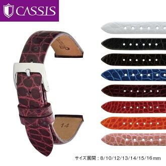 Caymancroco (鱷魚) 手錶製造的黑醋栗帶獅子閃亮 D0000B68 手錶皮帶手錶皮帶手錶錶帶