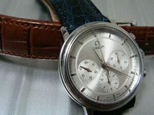 時計ベルトをモレラートのリバプールとルイジアナに交換したオメガ デビルプレステージクロノグラフ