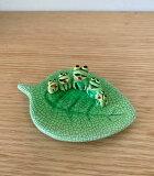 蛙 置物[陶器製 葉っぱに乗ったカエルさん]幸せが蛙5匹 木の葉蛙 葉のり蛙 蛙グッズ