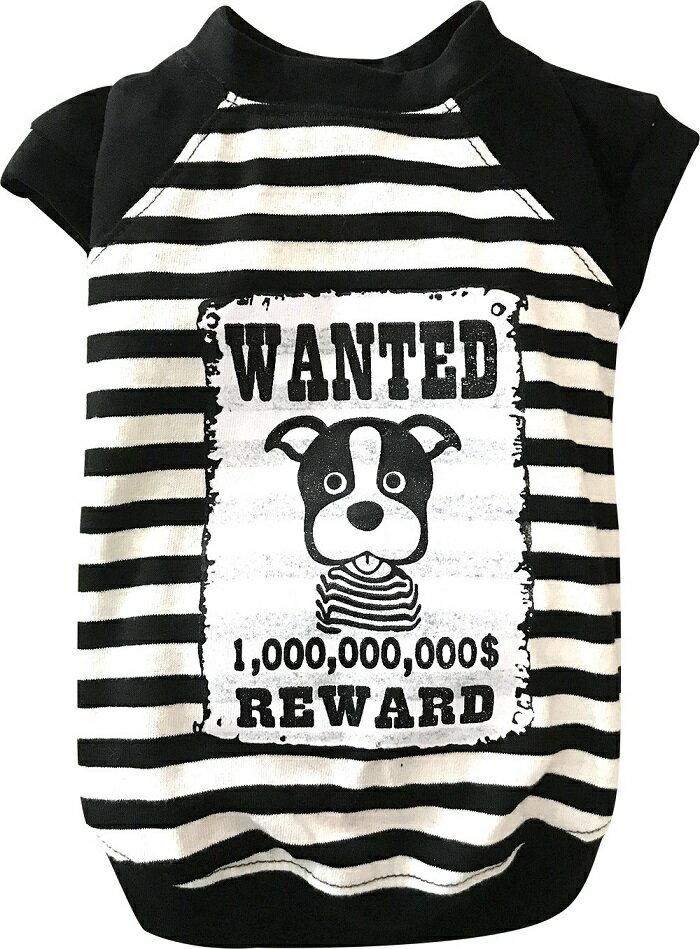 【 中型犬用 】 犬 服 かわいい ボーダー タンクTシャツ ペットウェア 白黒 追いかけっこ 遊ぶ WANTED 柴犬 パグ フレンチブルドッグ 可愛い DoggyDolly FP-T620 犬服