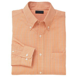 B・Dメンズギンガムチェックシャツ(長袖 )S〜ELL 7色(オレンジ)