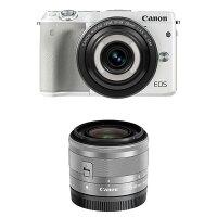 《新品》Canon(キヤノン)EOSM3クリエイティブマクロダブルレンズキットホワイト[ミラーレス一眼カメラ|デジタル一眼カメラ|デジタルカメラ]【CreativeMacro/マクロレンズで1/100の世界を遊ぼうキャンペーン対象】発売予定日:2016年7月下旬